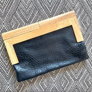 French Connection Clutch Black Leather Wood Handle